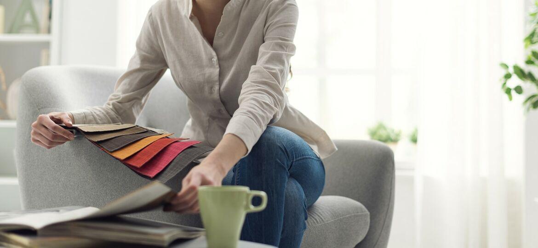 Woman looking at fabric samples